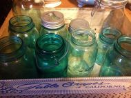 Blue Mason jars, accessories/props