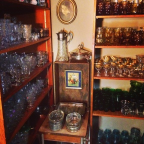 Glassware, vintage art and crate accessories